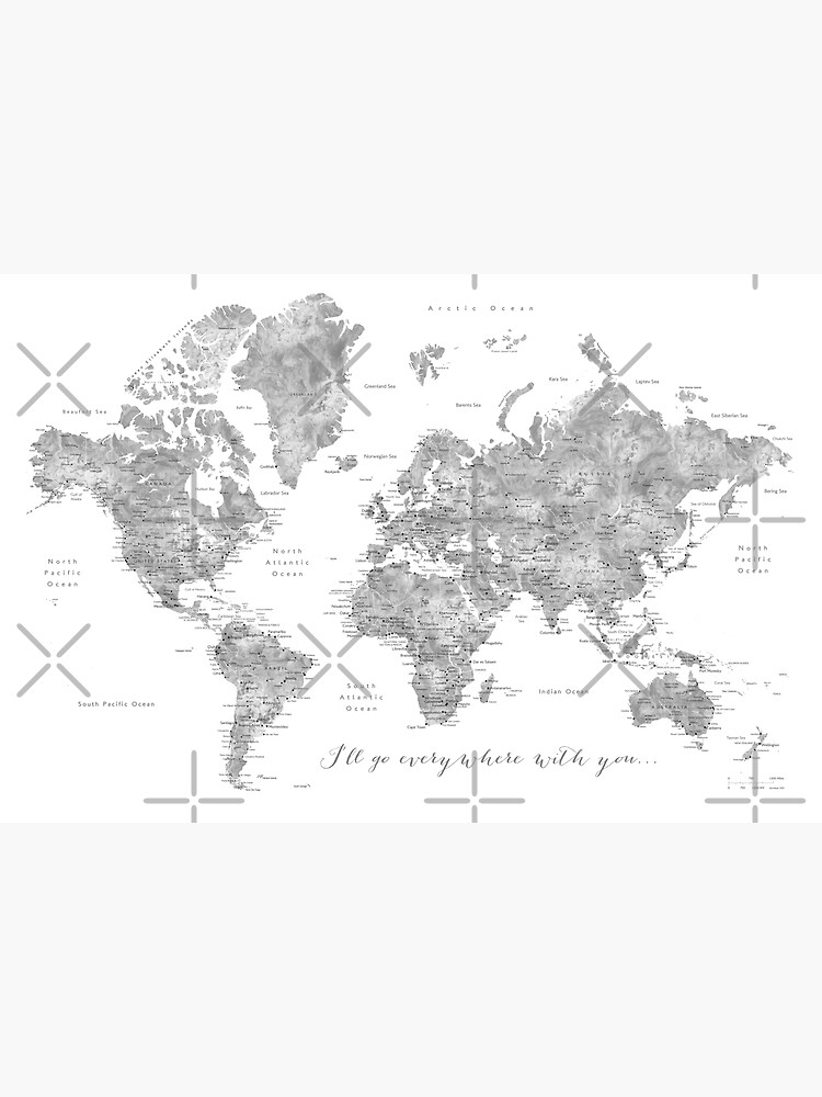 """Gray watercolor detailed world map """"Everywhere with you"""" by blursbyai"""