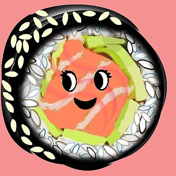 Sushi roll Kawaii salmon, avocado on coral by MagentaRose