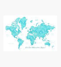 "Aquamarine watercolor world map ""Begin"" Photographic Print"