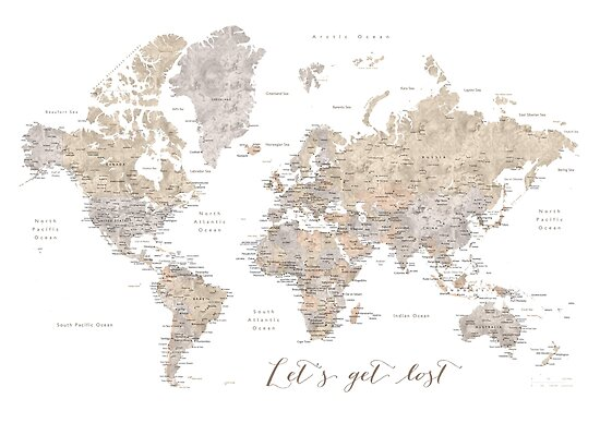 Detailed World Map Poster on
