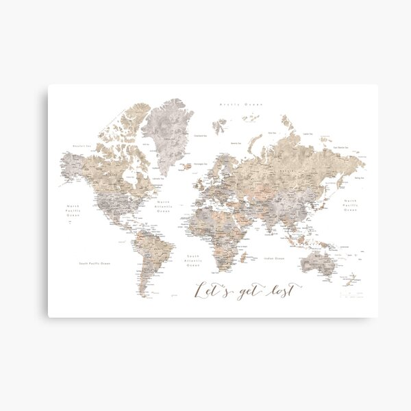 Let's get lost detailed world map Canvas Print