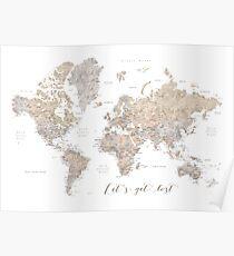 Lassen Sie uns detaillierte Weltkarte verloren gehen Poster