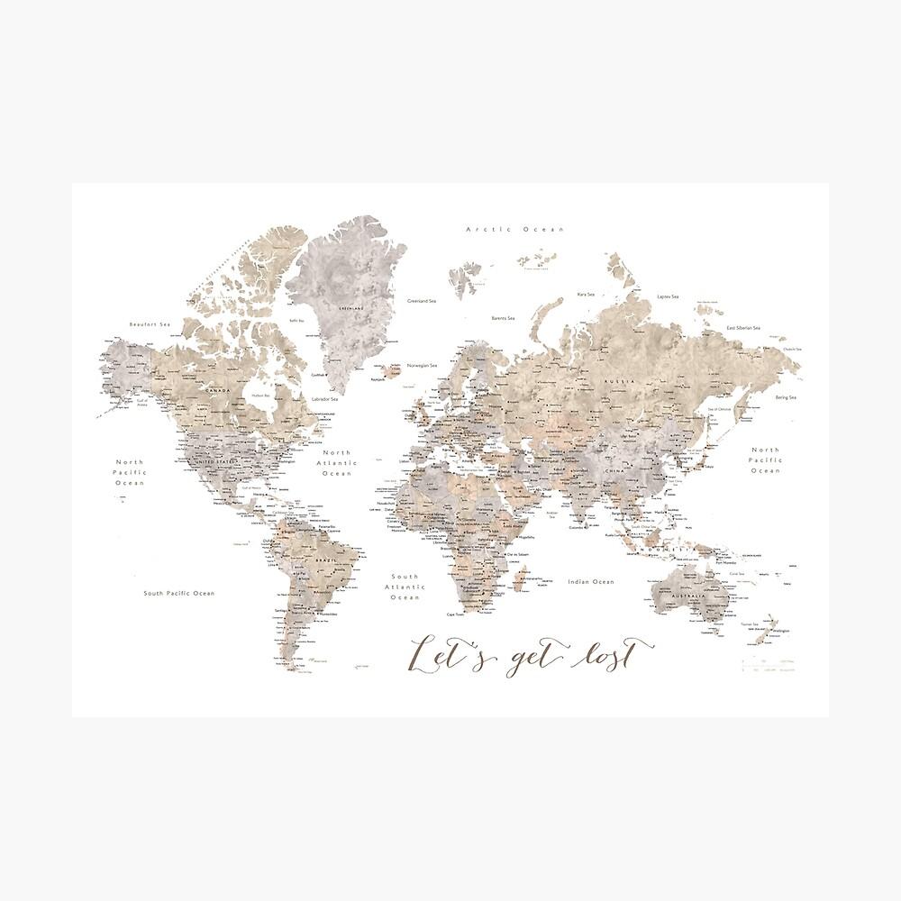 Lassen Sie uns detaillierte Weltkarte verloren gehen Fotodruck