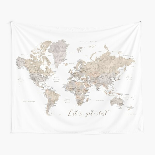 Let's get lost detailed world map Tapestry