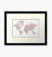 Dusty pink and grey world map with cities Framed Print