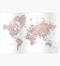 Dusty pink and grey world map with cities Poster