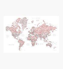 Staubige rosa und graue Weltkarte mit Städten Fotodruck