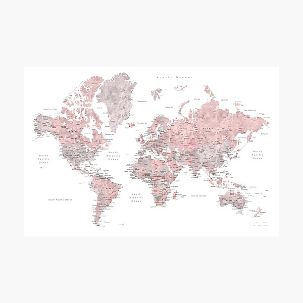 Dusty pink and grey world map with cities Photographic Print