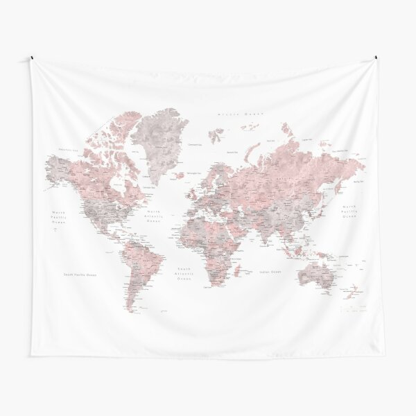 Dusty pink and grey world map with cities Tapestry