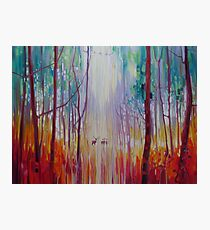 They Know - a semi abstract forest landscape with deer Photographic Print