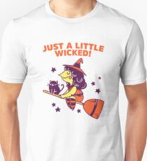 Just A Little Wicked Girl Witch Broomstick Cat Scary Pun  T-Shirt