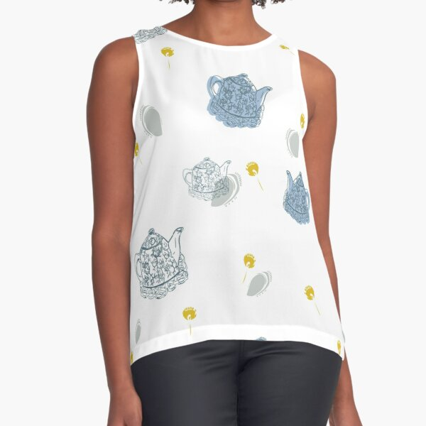 Blue Teapots Sleeveless Top