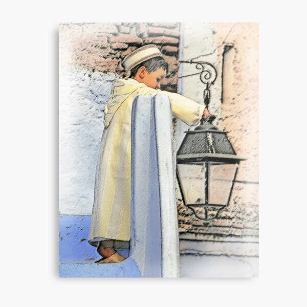 A boy and a lamp Metal Print
