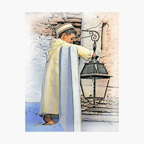 A boy and a lamp Photographic Print