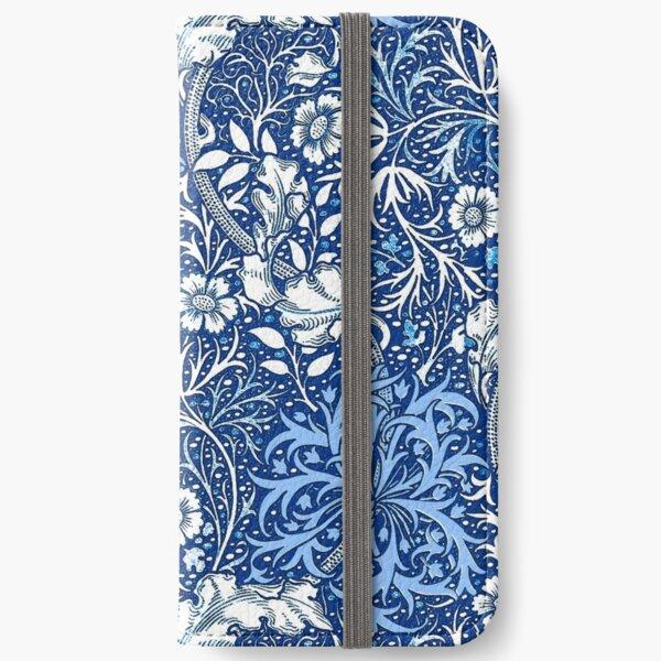 Art Nouveau Seaweed Floral, Cobalt Blue  iPhone Wallet