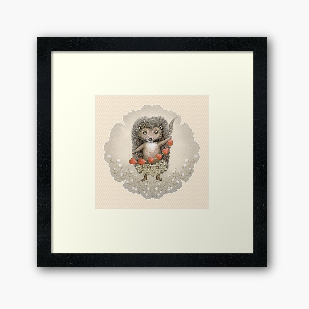 Animal Hedgehog Strawberry Framed Art Print