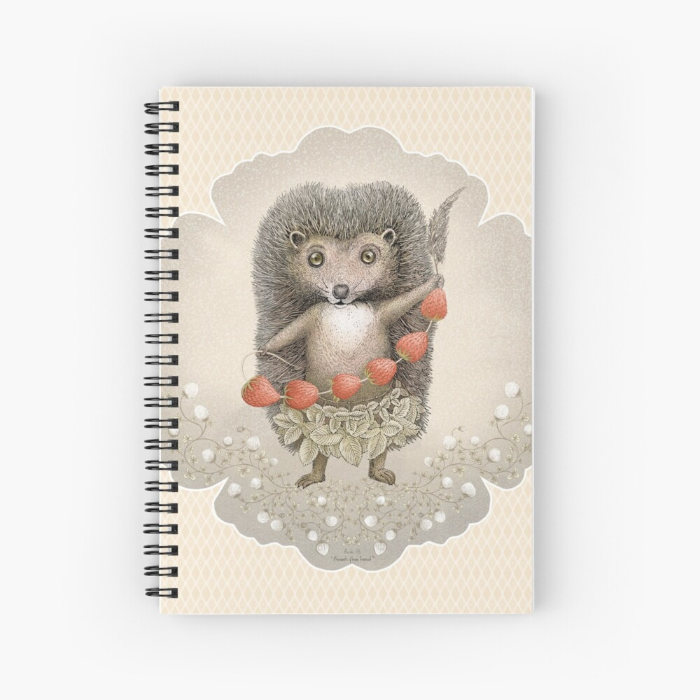 Animal Hedgehog Strawberry Spiral Notebook