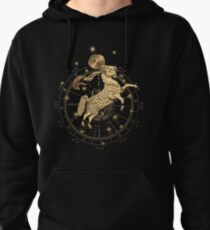 Western Zodiac - Golden Aries -The Ram on Black Canvas Pullover Hoodie