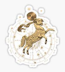 Western Zodiac - Golden Aries -The Ram on Black Canvas Sticker