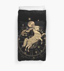 Western Zodiac - Golden Aries -The Ram on Black Canvas Duvet Cover