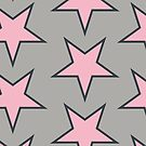 Stars pattern, pink on grey by ajo-rb