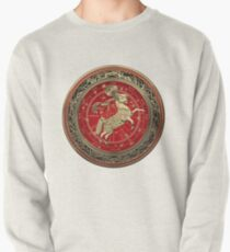 Western Zodiac - Golden Aries -The Ram on White Leather Pullover