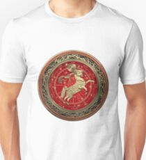 Western Zodiac - Golden Aries -The Ram on White Leather T-Shirt