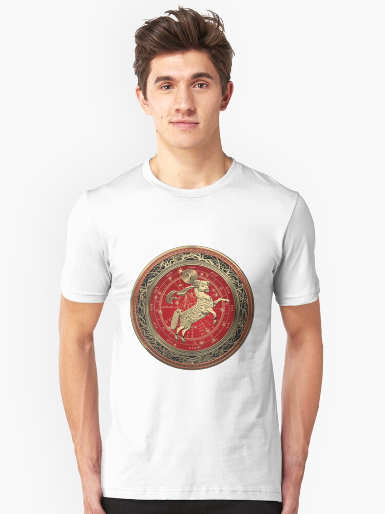 Western Zodiac - Golden Aries -The Ram on White Leather Unisex T-Shirt Front