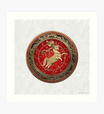 Western Zodiac - Golden Aries -The Ram on White Leather Art Print
