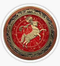 Western Zodiac - Golden Aries -The Ram on White Leather Sticker