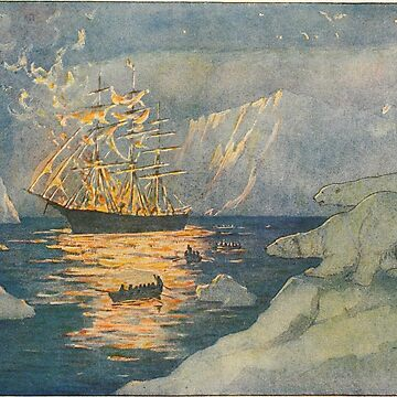 Polar Bears watch an Edwardian Ship Burn Greeting Card by tinyflyinggoats