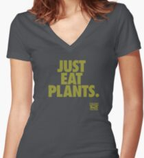 Just Eat Plants. Women's Fitted V-Neck T-Shirt