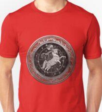 Western Zodiac - Golden Aries -The Ram on Red Velvet T-Shirt