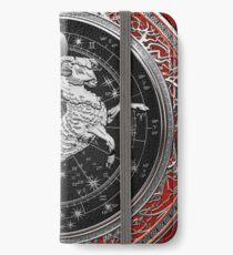 Western Zodiac - Golden Aries -The Ram on Red Velvet iPhone Wallet/Case/Skin