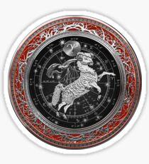 Western Zodiac - Golden Aries -The Ram on Red Velvet Sticker