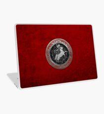 Western Zodiac - Golden Aries -The Ram on Red Velvet Laptop Skin