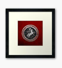 Western Zodiac - Golden Aries -The Ram on Red Velvet Framed Print