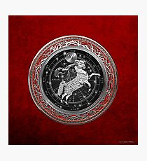 Western Zodiac - Golden Aries -The Ram on Red Velvet Photographic Print