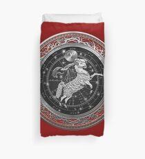 Western Zodiac - Golden Aries -The Ram on Red Velvet Duvet Cover