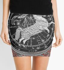 Western Zodiac - Golden Aries -The Ram on Red Velvet Mini Skirt