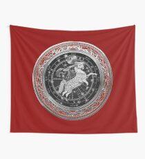 Western Zodiac - Golden Aries -The Ram on Red Velvet Wall Tapestry
