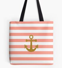 Trendy gold faux glitter anchor coral stripes Tote Bag