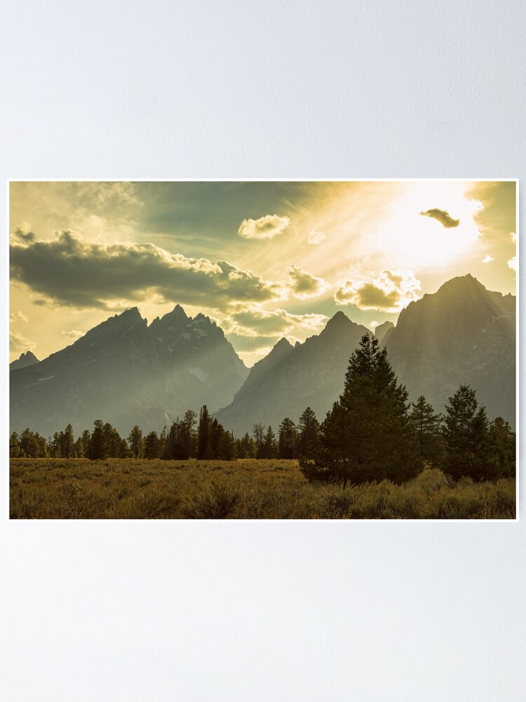 Alternate view of Smoky Golden Light On The Tetons Poster