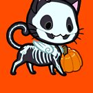 Halloween Chibi Winged Kitty - Black Skeleton Cat by Julia Lichty