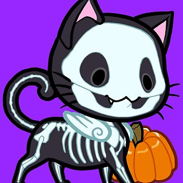 Halloween Chibi Winged Kitty - Black Skeleton Cat by ghostfire