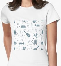 Vector pattern of sheet music and different musical toys: guitar, drum, trumpet, xylophone, maracas and other. T-Shirt