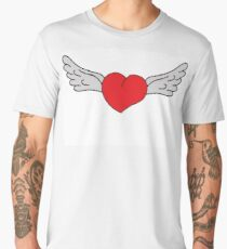 heart cartoon illustration with wings Men's Premium T-Shirt