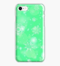 Abstract Winter Snow Background. Abstract Green Winter Pattern.  Snowflakes Background iPhone Case/Skin