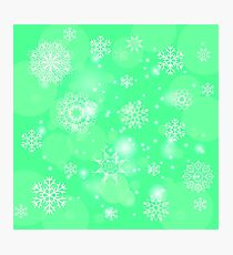 Abstract Winter Snow Background. Abstract Green Winter Pattern.  Snowflakes Background Photographic Print