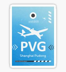 PVG Shanghai Pudong airport code blue sky Sticker